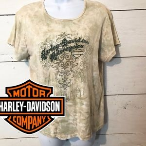 Harley Davidson Tan Acid Wash Tie Dye T-shirt XL